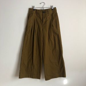 Madewell pleated wide leg pant in weathered olive